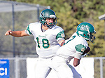 Palos Verdes, CA 10/07/16 - Reed Vabrey (Mira Costa #18) and Justin Goring (Mira Costa #3) in action during the CIF Bay League game between Mira Costa and Peninsula.