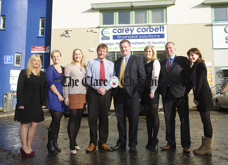 Celebrating ten years at Carey Corbett are; Fiona Byrnes, mortgage advisor, Emily Lynch, insurance advisor, Sarah Barry, insurance advisor, Donal Carey and Tommy Corbett, directors, Ailse Quinn, marketing, Martin O Connor, commercial insurance advisor and Grainne Cullinan, reception and administration. Photograph by John Kelly.