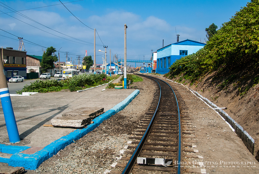 Russia, Sakhalin. Kholmsk is an important sea port for the island of Sakhalin. The Sakhalin railways has a station here.