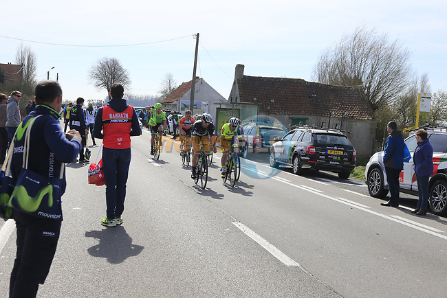 The breakaway group pass through the first feed zone at Steenkerke during Gent-Wevelgem in Flanders Fields 2017 running 249km from Denieze to Wevelgem, Flanders, Belgium. 26th March 2017.<br /> Picture: Eoin Clarke | Cyclefile<br /> <br /> <br /> All photos usage must carry mandatory copyright credit (&copy; Cyclefile | Eoin Clarke)