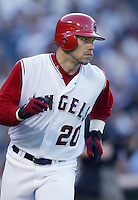 Brad Fullmer of the Los Angeles Angels runs the bases during a 2002 MLB season game at Angel Stadium, in Anaheim, California. (Larry Goren/Four Seam Images)