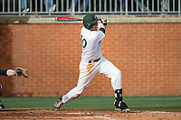 Zach Jarrett (10) of the Charlotte 49ers follows through on his swing against the Florida Atlantic Owls at Hayes Stadium on March 14, 2015 in Charlotte, North Carolina.  The Owls defeated the 49ers 8-3 in game one of a double header.  (Brian Westerholt/Four Seam Images)