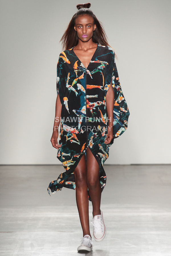 Model walks runway in an outfit from the House of Cannon Spring Summer 2016 collection by Annie Cannon-Brookes, for the Gen Art Fresh Faces In Fashion 20th annual fashion event, duing New York Fashion Week Spring 2016.