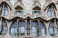 Spain, Barcelona. Casa Batlló is one of Antoni Gaudí's masterpieces. Facade