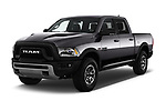 2017 Ram 1500 Rebel Crew 4 Door Pick Up angular front stock photos of front three quarter view