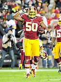 Washington Redskins linebacker Rob Jackson (50) salutes the fans after his late fourth quarter interception against the Dallas Cowboys at FedEx Field in Landover, Maryland on Sunday, December 30, 2012.  The Redskins won the game 28 - 18 to capture the NFC East title..Credit: Ron Sachs / CNPDallas Cowboys against the Washington Redskins at FedEx Field in Landover, Maryland on Sunday, December 30, 2012.  The Redskins won the game 28 - 18 to capture the NFC East title..Credit: Ron Sachs / CNP.(RESTRICTION: NO New York or New Jersey Newspapers or newspapers within a 75 mile radius of New York City)