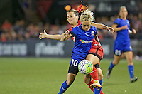 Portland, OR - Saturday July 30, 2016: Hayley Raso, Jessica Fishlock during a regular season National Women's Soccer League (NWSL) match between the Portland Thorns FC and Seattle Reign FC at Providence Park.