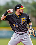 5 March 2019: Pittsburgh Pirates minor league Position Player Dylan Busby works on infield drills at Pirate City in Bradenton, Florida. Mandatory Credit: Ed Wolfstein Photo *** RAW (NEF) Image File Available ***