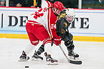 ADRIAN, MI - MARCH 18:  Melissa Ames (24) of Plattsburgh State University and Brooke Lupi (17) of Adrian College struggle for a loose puck during the Division III Women's Ice Hockey Championship held at Arrington Ice Arena on March 19, 2017 in Adrian, Michigan. Plattsburgh State defeated Adrian 4-3 in overtime to repeat as national champions for the fourth consecutive year. by Tony Ding/NCAA Photos via Getty Images)