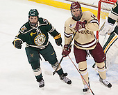 Nick Bruneteau (UVM - 4), Brooks Dyroff (BC - 14) - The Boston College Eagles defeated the visiting University of Vermont Catamounts to sweep their quarterfinal matchup on Saturday, March 16, 2013, at Kelley Rink in Conte Forum in Chestnut Hill, Massachusetts.
