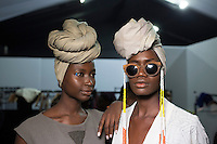 JOHANNESBURG, SOUTH AFRICA - MARCH 11: Models walking for the designer label Mille Collines wait backstage before a show at Johannesburg Fashion Week week on March 11, 2016, at Nelson Mandela Square Johannesburg, South Africa. (Photo by: Per-Anders Pettersson)