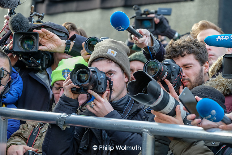 News photographers, radio and TV journalists working on College Green, opposite the Houses of Parliament, London, on the day Conservative MPs launched a challenge to Theresa May's leadership of the party.