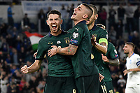 Jorginho of Italy celebrates with Marco Verratti and Leonardo Bonucci after scoring on penalty the goal 0f 1-0 for his side <br /> Roma 12-10-2019 Stadio Olimpico <br /> European Qualifiers Qualifying round Group J <br /> Italy - Greece <br /> Photo Andrea Staccioli/Insidefoto