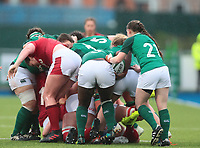 9nd February 2020; Energia Park, Dublin, Leinster, Ireland; International Womens Rugby, Six Nations, Ireland versus Wales; Linda Djougang (Ireland) controls the ball at the back of a maul