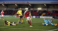 Fleetwood Town's Ashley Nadesan sees his close range second half effort saved by Oxford United's Simon Eastwood<br /> <br /> Photographer Rich Linley/CameraSport<br /> <br /> The EFL Sky Bet League One - Fleetwood Town v Oxford United - Saturday 12th January 2019 - Highbury Stadium - Fleetwood<br /> <br /> World Copyright &copy; 2019 CameraSport. All rights reserved. 43 Linden Ave. Countesthorpe. Leicester. England. LE8 5PG - Tel: +44 (0) 116 277 4147 - admin@camerasport.com - www.camerasport.com