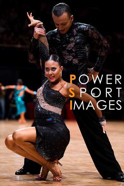 Pavel Golubev and Yulia Stepanova of Estonia during the WDSF GrandSlam Latin on the Day 1 of the WDSF GrandSlam Hong Kong 2014 on May 31, 2014 at the Queen Elizabeth Stadium Arena in Hong Kong, China. Photo by AItor Alcalde / Power Sport Images