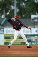Batavia Muckdogs shortstop Demetrius Sims (55) throws to first base during a game against the Mahoning Valley Scrappers on August 18, 2017 at Dwyer Stadium in Batavia, New York.  Mahoning Valley defeated Batavia 8-2.  (Mike Janes/Four Seam Images)