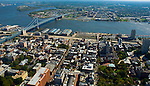 Aerial view of Penns landing, Riverfront Independence Hall, Benjamin Franklin Bridge and Delaware River