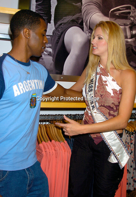 "Gavin Houston and Miss USA Shandi Finnessey ..at The French Connection  and Rock The Vote for a ""Fcuk You, I'm Voting Party on August 31, 2004 in New York City. ..Photo by Robin Platzer, Twin Images"