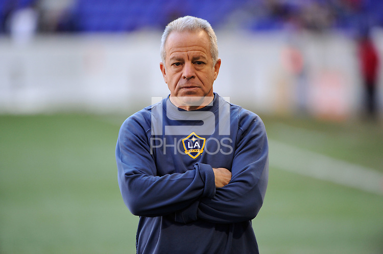 Los Angeles Galaxy associate head coach Dave Sarachan during warmups prior to the 1st leg of the Major League Soccer (MLS) Western Conference Semifinals against the New York Red Bulls at Red Bull Arena in Harrison, NJ, on October 30, 2011.