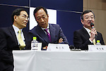 J.W. Tai, Corporate Executive VP, and Terry Gou, Founder and Chairman, both of Taiwanese electronics contractor Foxconn (official name Hon Hai Precision Industry Co., Ltd.), and Kozo Takahashi, President and CEO of Sharp Corporation, appear at a joint press conference held at Sakai Display Products Corporation on April 2, 2016 in Sakai Ward, Osaka, Japan. Gou and Takahashi announced the final terms for the deal for the Foxconn to acquire Japan's Sharp at discounted rate on after a month of uncertainty. Originally Foxconn had offered $4.4 billion for a two-thirds stake in Sharp, but ended up paying $3.5 billion after undisclosed Sharp liabilities became apparent. Foxconn is expected to use its controlling stake in Sharp to strengthen its negotiating position with its biggest customer, Apple Inc., now that it has access to Japanese company's superior screen display technology. (Photo by Shingo Ito/AFLO)