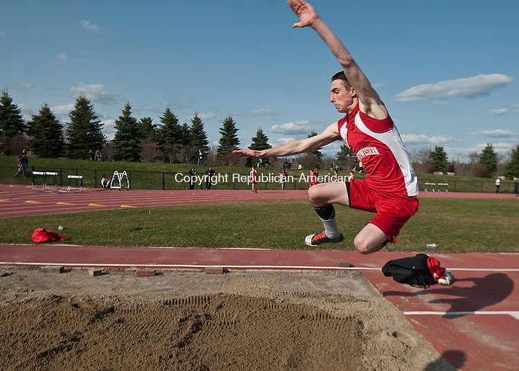 LITCHFIELD, CT--042115JS08- Northwestern's Evan Dulecki competes in the long jump during their Berkshire League track meet with Wamogo, Thomaston and O'Brien Tech, Tuesday at the Plumb Hill sports complex at Litchfield High School. <br /> Jim Shannon Republican-American