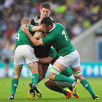 Jordie Barrett of New Zealand U20 takes on the Ireland U20 defence. World Rugby U20 Championship match between New Zealand U20 and Ireland U20 on June 11, 2016 at the Manchester City Academy Stadium in Manchester, England. Photo by: Patrick Khachfe / Onside Images