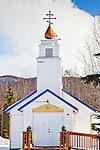 Saint Nicholas Orthodox Church, Eklutna Village Historical Park on a sunny day, Southcentral, Alaska, Winer.
