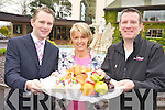 Jason Clifford, Manager, The Dunloe, Beaufort, Moira Cronin, principal Cullina National School and Mark Doe, Just Cooking, pictured at the launch of the Mark Doe Cookery Demonstration, which will take place in the hotel, in aid of Cullina National School, on Thursday, May 3rd.