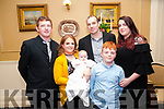 Baby Sophie Lyons with her parents Sarah Breen & Chris Lyons and god parents Denis Breen & Sarah Murphy and brother Daniel Breen who was christened in St. Mary's Church, Listowel by Canon Declan O'Connor on Saturday last and afterwards at the Listowel Arms Hotel.