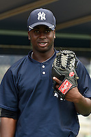 GCL Yankees 1 pitcher Francis Joseph (24) poses for a photo before the second game of a doubleheader against the GCL Braves on July 1, 2014 at the Yankees Minor League Complex in Tampa, Florida.  GCL Braves defeated the GCL Yankees 1 by a score of 3-1.  (Mike Janes/Four Seam Images)