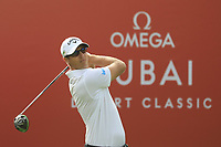 Nicolas Colsaerts (BEL) in action during the first round of the Omega Dubai Desert Classic, Emirates Golf Club, Dubai, UAE. 24/01/2019<br /> Picture: Golffile | Phil Inglis<br /> <br /> <br /> All photo usage must carry mandatory copyright credit (&copy; Golffile | Phil Inglis)