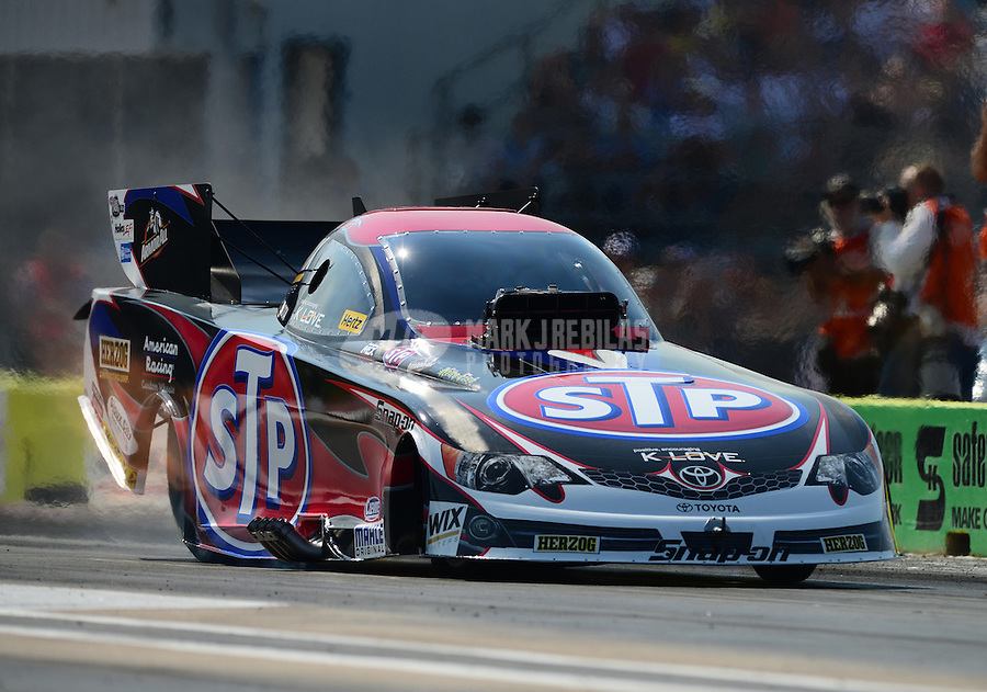 Sept. 21, 2012; Ennis, TX, USA: NHRA funny car driver Tony Pedregon during qualifying for the Fall Nationals at the Texas Motorplex. Mandatory Credit: Mark J. Rebilas-