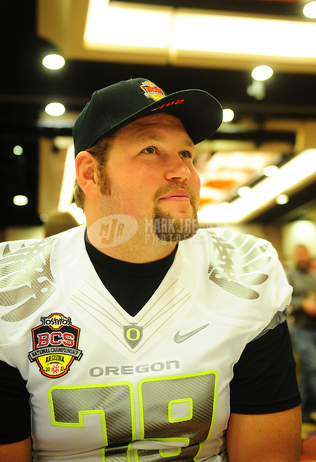 Jan. 7, 2011; Scottsdale, AZ, USA; Oregon Ducks tackle Mark Asper during media day at the JW Marriott for the 2011 BCS National Championship game against the Auburn Tigers to be played on January 10, 2011. Mandatory Credit: Mark J. Rebilas-