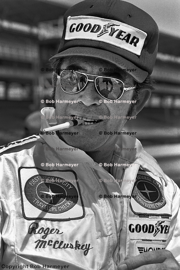 INDIANAPOLIS, IN: Roger McCluskey in the pit lane before practice for the Indianapolis 500 on May 29, 1977, at the Indianapolis Motor Speedway.