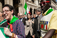 Milano 25-04-2013: Laura Boldrini al corteo per ricordare il 25 aprile del 1945 giorno della liberazione dalla dittatura nazi-fascista