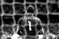 Iker Casillas of Real Madrid during La Liga match between Real Madrid and Athletic de Bilbao at Santiago Bernabeu stadium in Madrid, Spain. October 05, 2014. (ALTERPHOTOS/Caro Marin)(EDITORS NOTE: This image has been converted to black and white)