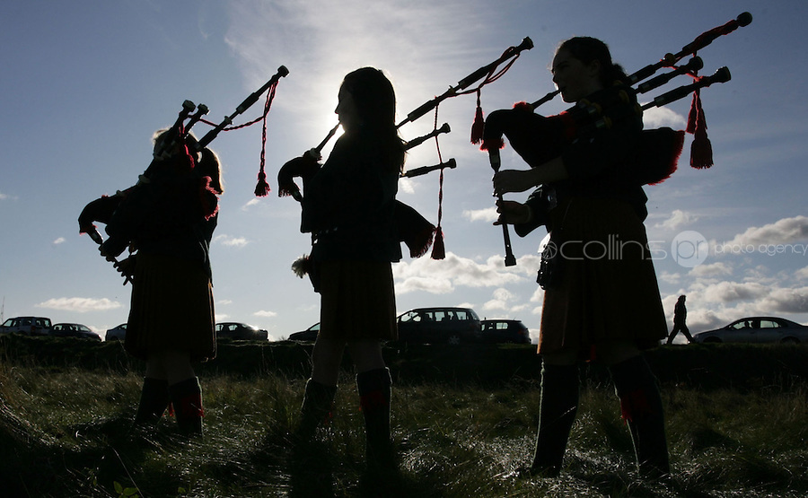 31/10/2008.Members of the De La Sal Scout Pipe band Waterford.(L to r).Eimear Costello, (9), Shona Murray (12) & Hazel Murray (14).at the opening of the 5th port Dollymount 12th Dublin Sea Scout Group at Dollymount, Dublin..Photo: Gareth Chaney Collins