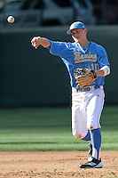 Pat Valaika #10 of the UCLA Bruins makes a throw against the Baylor Bears at Jackie Robinson Stadium on February 25, 2012 in Los Angeles,California. UCLA defeated Baylor 9-3.(Larry Goren/Four Seam Images)