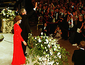 United States President George W. Bush and First Lady Laura Bush wave to supporters after dancing at one of nine inaugural balls in Washington, D.C. on January 20, 2001..Credit: Robert Trippett / Pool via CNP.
