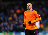 Manchester City's Gabriel Jesus during the pre-match warm-up <br /> <br /> Photographer Rich Linley/CameraSport<br /> <br /> UEFA Champions League Round of 16 Second Leg - Manchester City v FC Schalke 04 - Tuesday 12th March 2019 - The Etihad - Manchester<br />  <br /> World Copyright © 2018 CameraSport. All rights reserved. 43 Linden Ave. Countesthorpe. Leicester. England. LE8 5PG - Tel: +44 (0) 116 277 4147 - admin@camerasport.com - www.camerasport.com