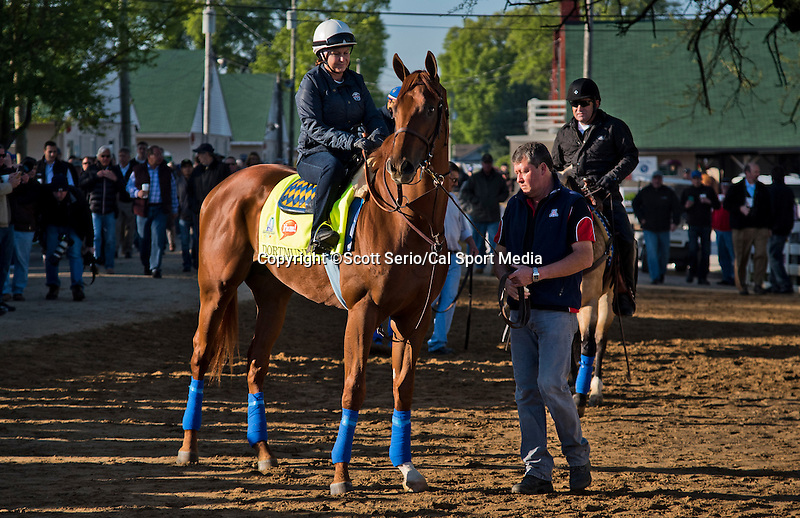 April 28, 2015: Dortmund, trained by Bob Baffert, wait to enter the track to exercise in preparation for the 141st Kentucky Derby at Churchill Downs in Louisville, Kentucky. Scott Serio/CSM