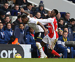 Tottenham's Danny Welbeck gets pushed by Arsenal's Danny Welbeck<br /> <br /> Barclays Premier League- Tottenham Hotspurs vs Arsenal  - White Hart Lane - England - 7th February 2015 - Picture David Klein/Sportimage