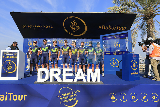 Movistar Team at sign on before the start of Stage 1, the Dubai Silicon Oasis Stage, of the 2016 Dubai Tour starting at the Dubai International Marine Club and running 175km to Fujairah, Mina Seyahi, Dubai, United Arab Emirates. 3rd February 2016.<br /> Picture: Eoin Clarke | Newsfile<br /> <br /> <br /> All photos usage must carry mandatory copyright credit (&copy; Newsfile | Eoin Clarke)
