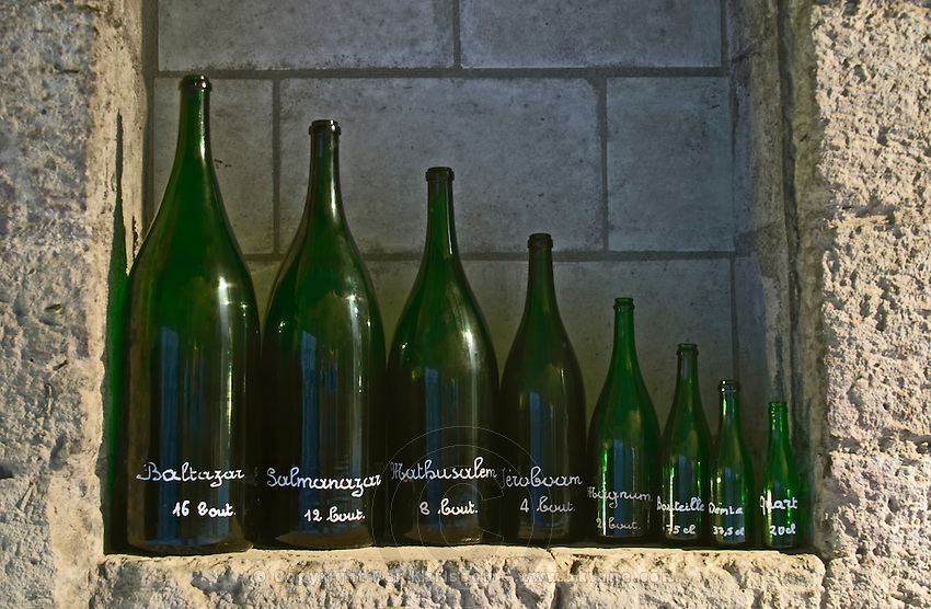 Various size bottles: Baltazar, Salamanazar, Mathusalem, Jeroboam, Magnum, Bottle, Demi, Quart Ackerman Laurance, Saumur, Loire, France