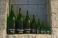 Various size bottles: Baltazar, Salamanazar, Mathusalem, Jeroboam, Magnum, Bottle, Demi, Quart Ackerman Laurance, Saumur, Loire, France
