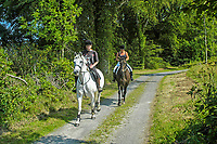 Two riders on a trail at Castleward, the National Trust property near Strangford, Co Down, N Ireland. Ref: 200408015322<br /> <br /> Copyright Image from Victor Patterson, 54 Dorchester Park, Belfast, UK, BT9 6RJ<br /> <br /> t1: +44 28 9066 1296<br /> t2: +44 28 9002 2446<br /> m: +44 7802 353836<br /> <br /> e1: victorpatterson@me.com<br /> e2: victorpatterson@gmail.com<br /> <br /> www.victorpatterson.com<br /> <br /> IMPORTANT: Please see my Terms and Conditions of Use at www.victorpatterson.com