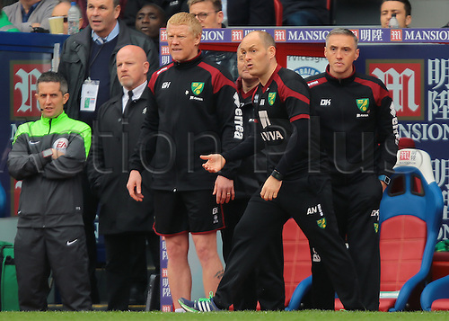 09.04.2016. Selhurst Park, London, England. Barclays Premier League. Crystal Palace versus Norwich. Norwich City Manager Alex Neil reacts after a decision goes against his team