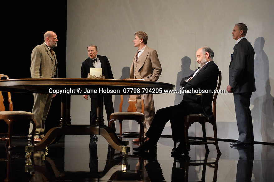 London, UK. 09.11.2015. WASTE, by Harley Granville Barker, directed by Roger Michell, opens at the National Theatre. Picture shows: Paul Hickey (Justin O'Connell), Michael Elwyn (Cyril Horsham), Charles Edwards (Henry Trebell), Louis Hilyer (Russell Blackborough), William Chubb (George Farrant). Photograph © Jane Hobson.