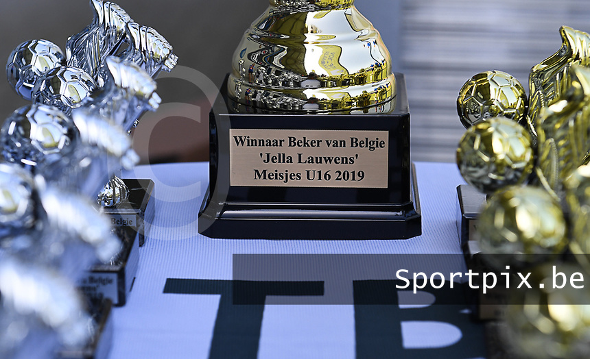 20190422 - Denderleeuw , BELGIUM : illustration picture shows the cups - Jella Lauwens Cup during the Under 16 final of Belgian cup 2019 , a soccer women game between KRC Genk Ladies and The West Flames Club Brugge  , in the  Van Roystadion in Denderleeuw , Monday 22 th April 2019 . PHOTO SPORTPIX.BE | DAVID CATRY
